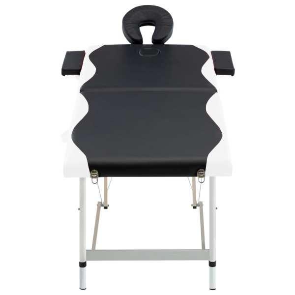 Masă pliabilă de masaj, 2 zone, negru și alb, aluminiu