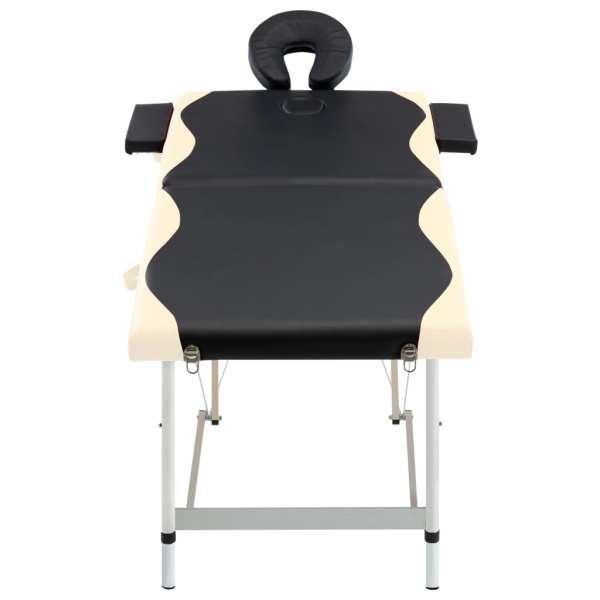 Masă pliabilă de masaj, 2 zone, negru și bej, aluminiu