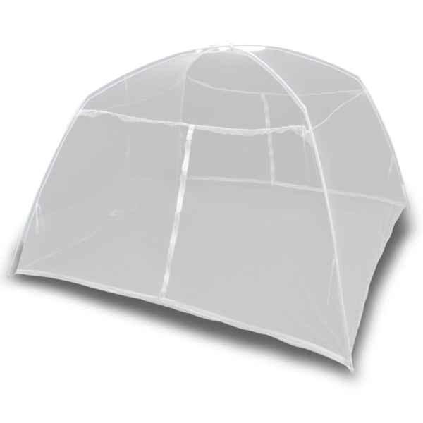 vidaXL Cort camping, alb, 200x120x130 cm, fibră de sticlă