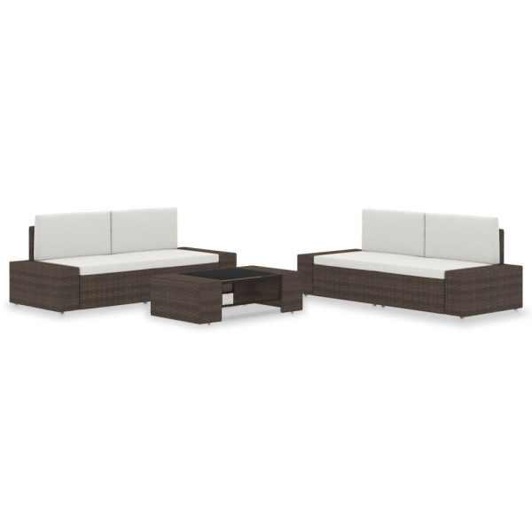 vidaXL Set mobilier de grădină, 5 piese, maro, poliratan