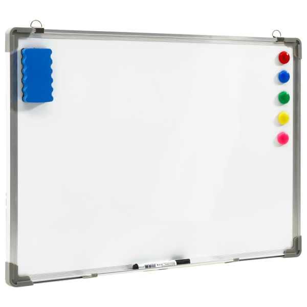 vidaXL Tablă magnetică albă cu ștergere uscată 90×60 cm oțel