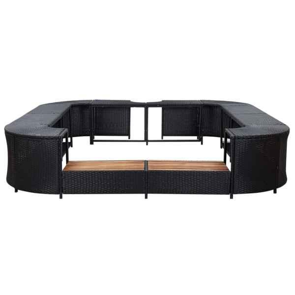 vidaXL Mobilier de jacuzzi, negru, 268 x 268 x 55 cm, poliratan