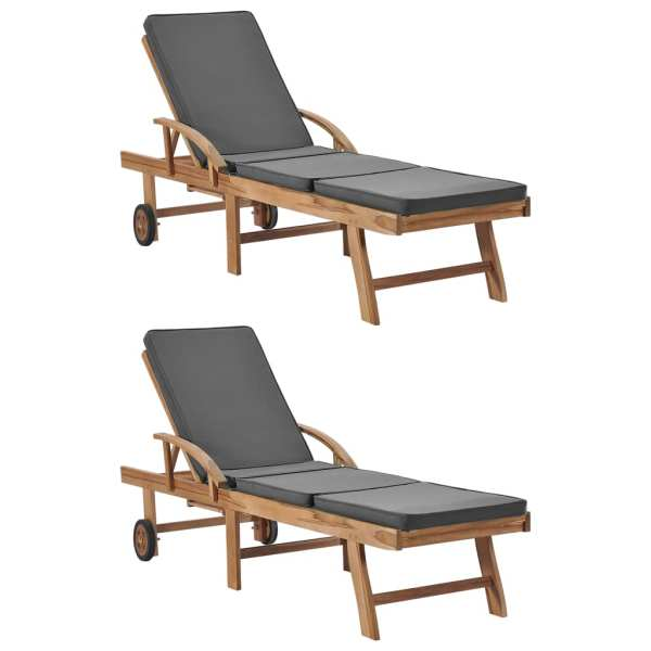 vidaXL Șezlonguri cu perne, 2 buc., gri închis, lemn masiv de tec