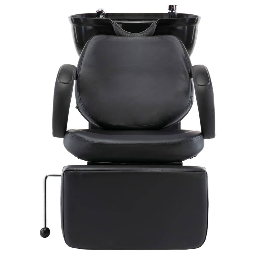 Scaun salon șamponare, cu lavoar, negru, piele ecologică