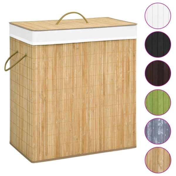 Coș de rufe din bambus, 100 L
