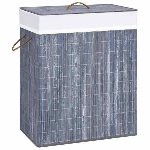 vidaXL Coș de rufe din bambus, gri, 100 L
