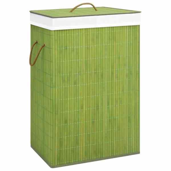 vidaXL Coș de rufe din bambus, verde, 72 L