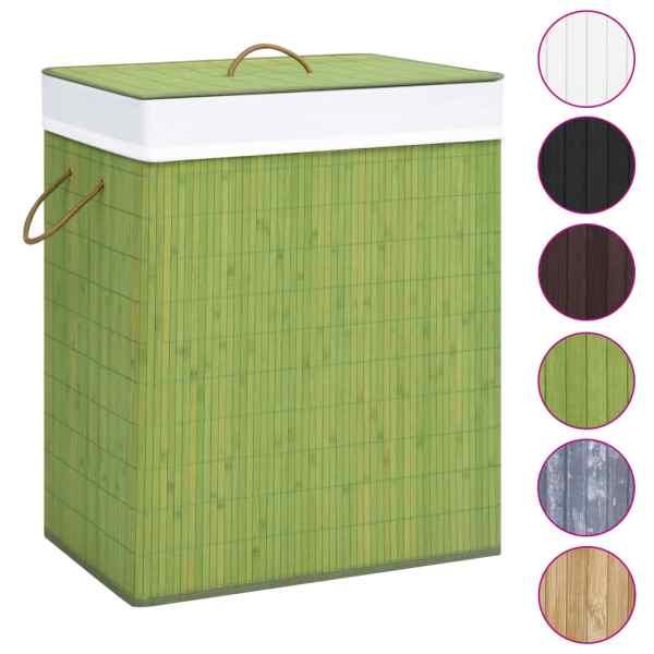 Coș de rufe din bambus, verde, 83 L