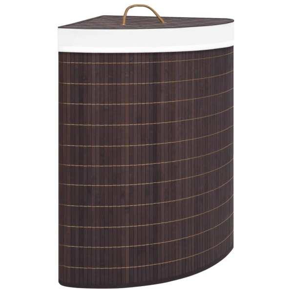 vidaXL Coș de rufe din bambus de colț, maro, 60 L