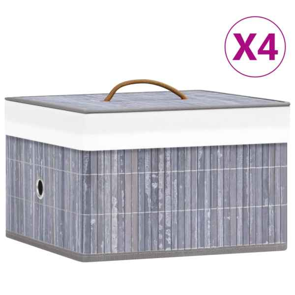 vidaXL Cutii de depozitare, 4 buc., gri, bambus