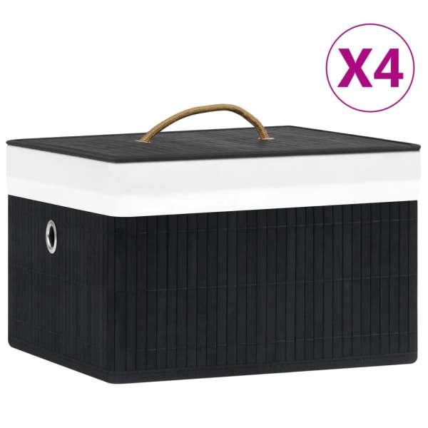vidaXL Cutii de depozitare, 4 buc., negru, bambus