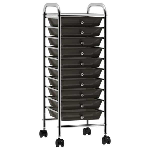 vidaXL Cărucior de depozitare mobil cu 10 sertare, negru, plastic