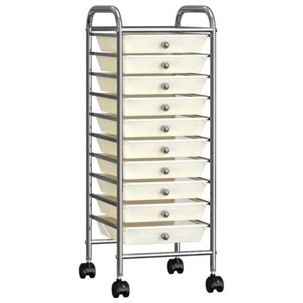 vidaXL Cărucior de depozitare mobil cu 10 sertare, alb, plastic