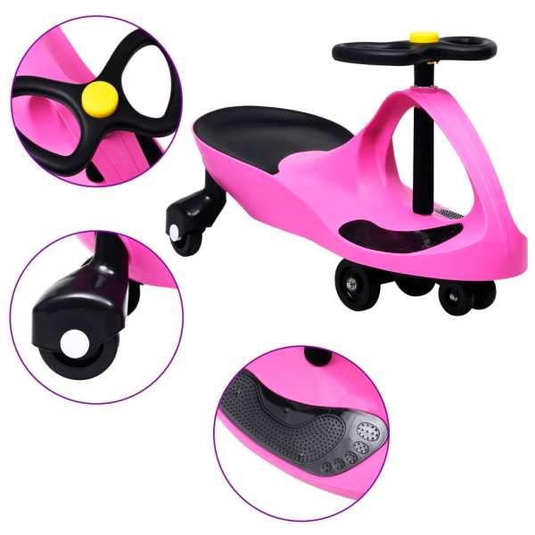 vidaXL Mașinuță de jucărie fără pedale cu claxon, roz