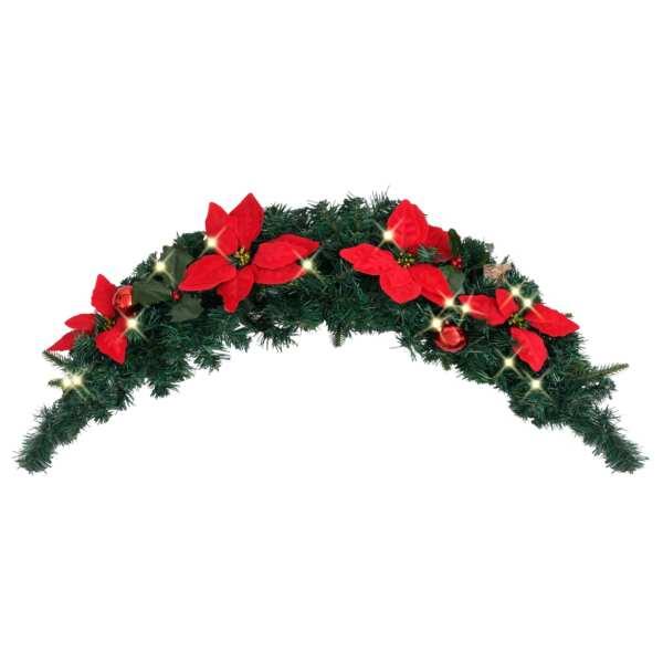 vidaXL Arcadă de Crăciun cu lumini LED, verde, 90 cm, PVC