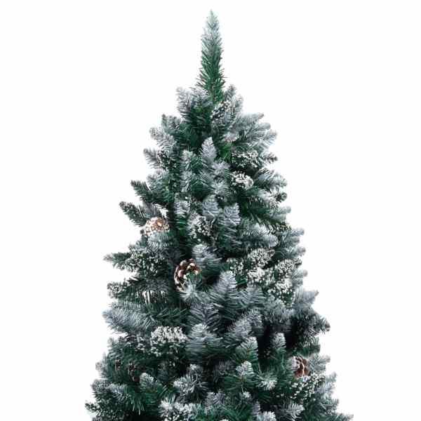 Brad de Crăciun artificial cu conuri și zăpadă albă, 180 cm