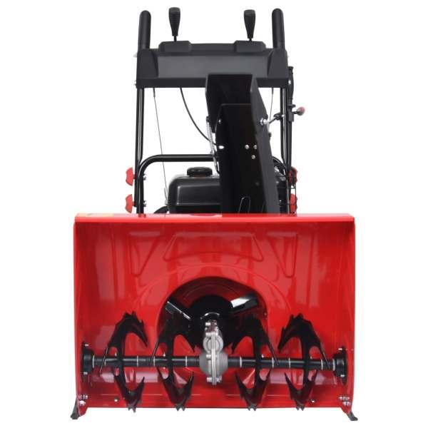 vidaXL Freză de zăpadă în 2 trepte, roșu/negru, plastic 196 cc 6,5 CP