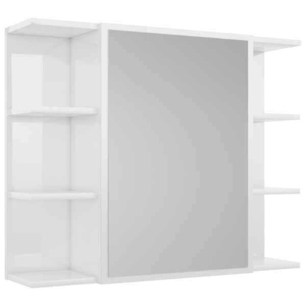 vidaXL Dulap de baie cu oglindă, alb extralucios, 80×20,5×64 cm, PAL