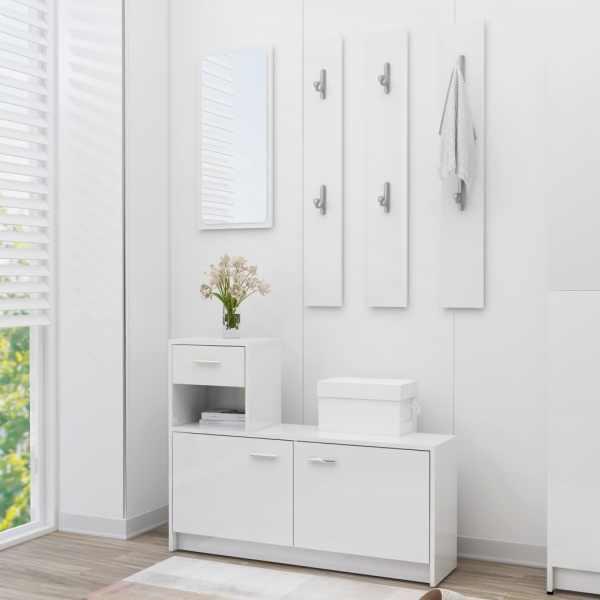 vidaXL Mobilă pentru hol, alb extralucios, 100 x 25 x 76,5 cm, PAL