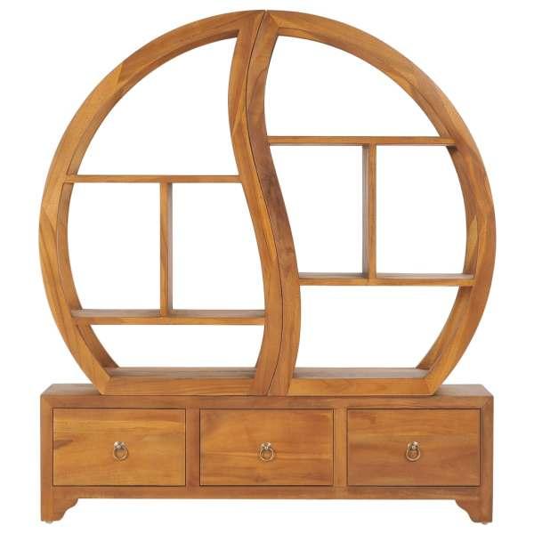 Dulap cu raft Yin Yang, 100 x 26 x 112 cm, lemn masiv de tec