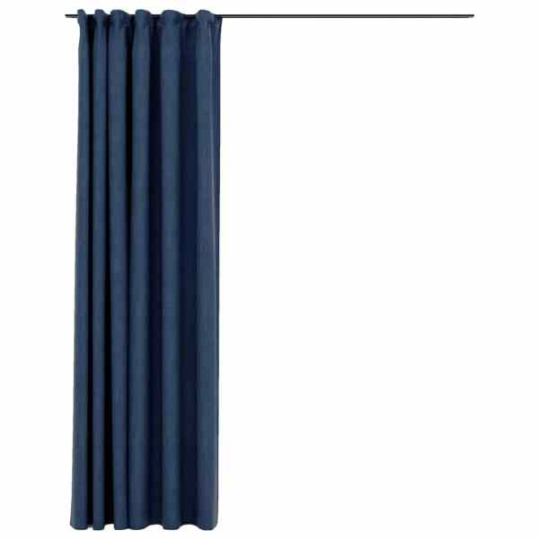 vidaXL Draperie opacă, aspect de in, albastru, 290×245 cm, cu cârlige
