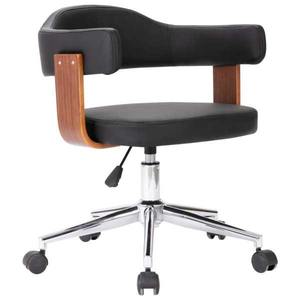 vidaXL Scaun de birou pivotant, negru, lemn curbat și piele ecologică
