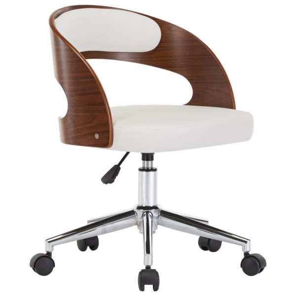 Scaun de birou pivotant, alb, lemn curbat și piele ecologică