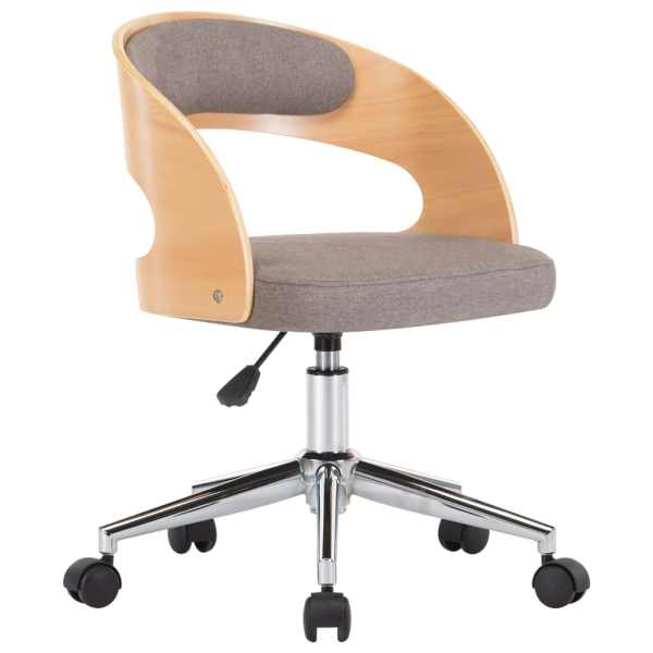 Scaun de birou pivotant, gri taupe, lemn curbat și textil