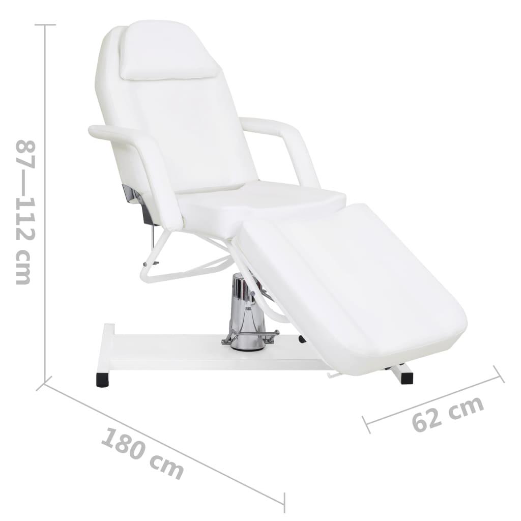 Masă de masaj, alb, 180 x 62 x (87-112) cm