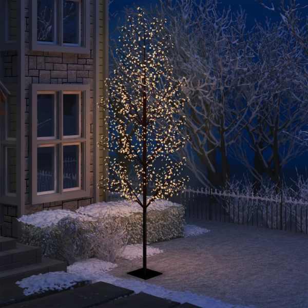 vidaXL Pom Crăciun, 1200 LED-uri alb cald, flori de cireș, 300 cm