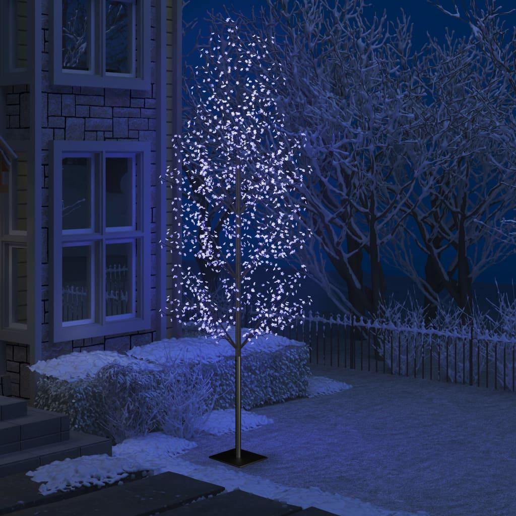 vidaXL Pom Crăciun, 1200 LED-uri lumină albastră flori de cireș 400 cm