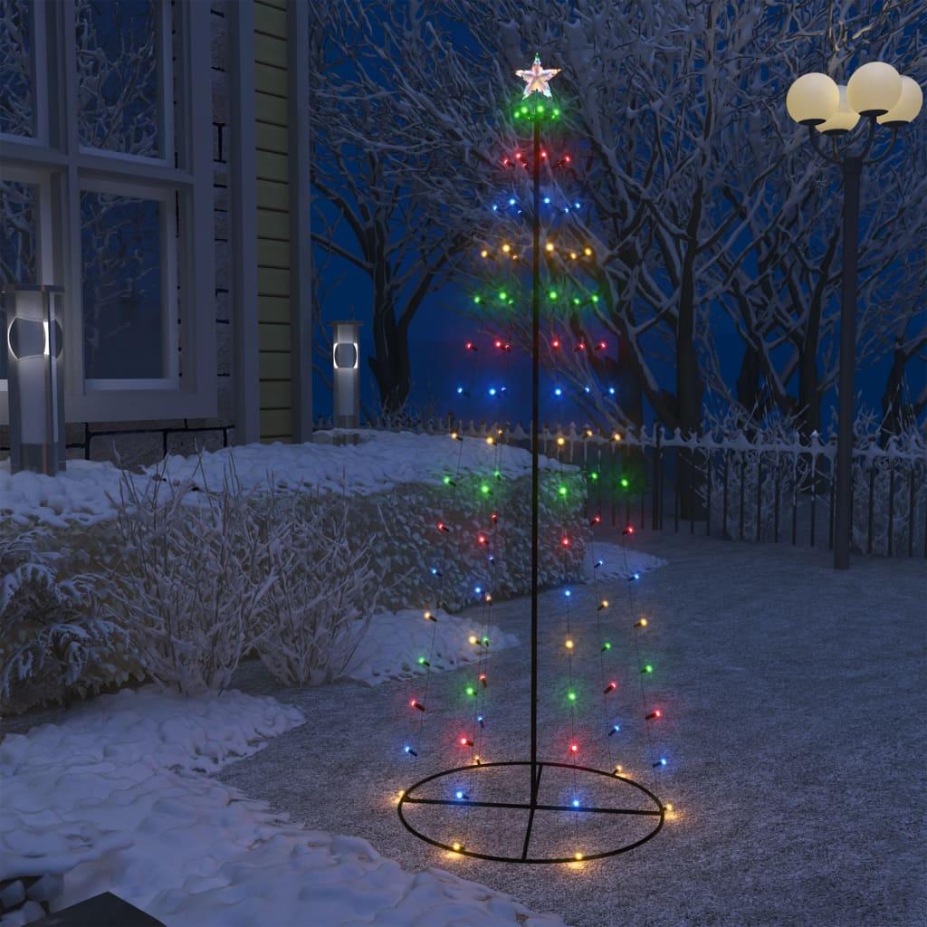vidaXL Decorațiune brad Crăciun conic 100 LED-uri colorate 70×180 cm