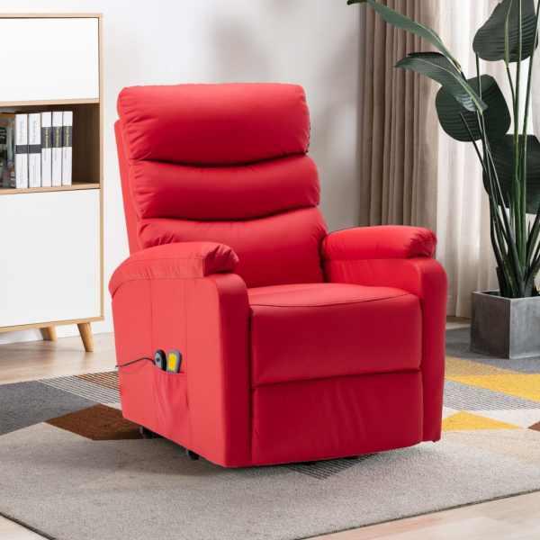 vidaXL Fotoliu de masaj rabatabil cu ridicare, roșu, piele ecologică