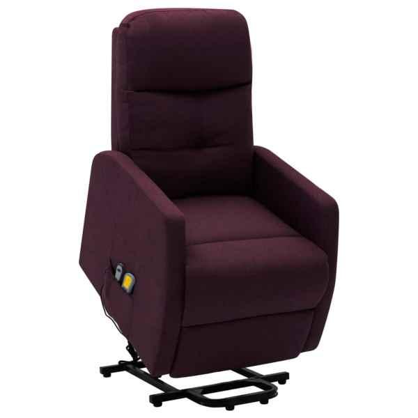 vidaXL Fotoliu de masaj rabatabil cu ridicare, violet, material textil