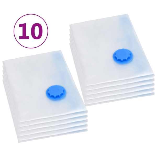 vidaXL Saci vidați îmbrăcăminte depozitare voiaj, 10 buc., 120×70 cm