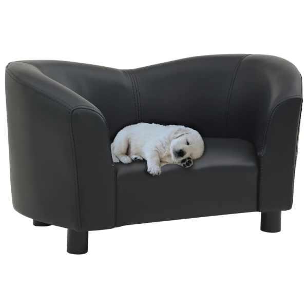 vidaXL Canapea pentru câini, negru, 67x41x39 cm, piele ecologică