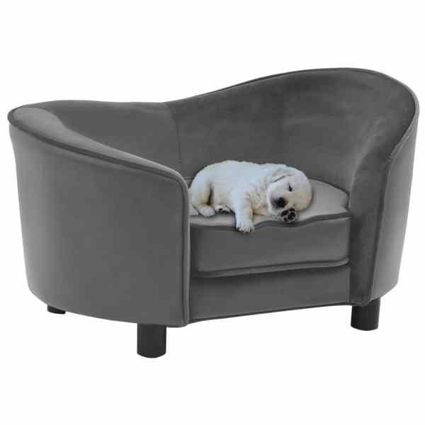 vidaXL Canapea pentru câini, gri, 69x49x40 cm, pluș și piele ecologică