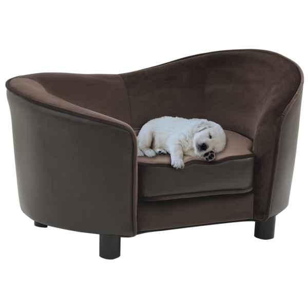 vidaXL Canapea pentru câini, maro, 69x49x40 cm, pluș & piele ecologică