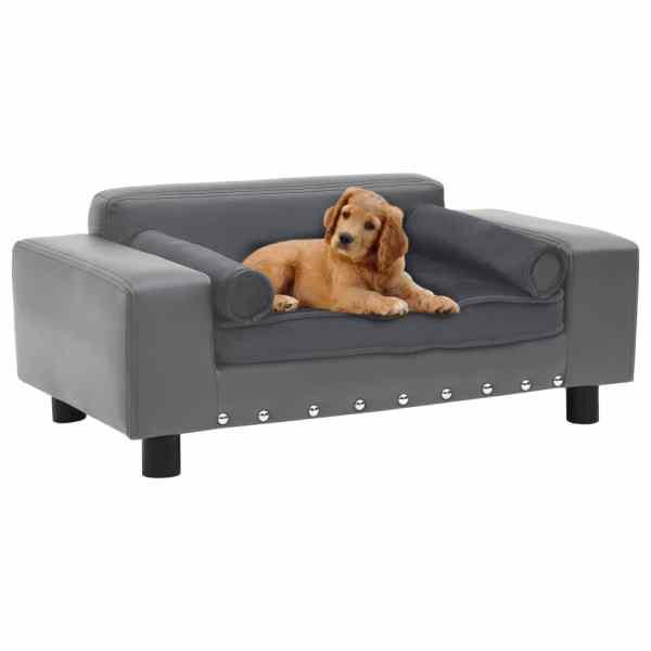 vidaXL Canapea pentru câini, gri, 81x43x31 cm, pluș & piele ecologică