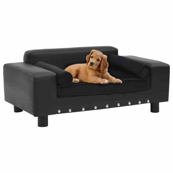 vidaXL Canapea pentru câini, negru, 81x43x31cm, pluș & piele ecologică