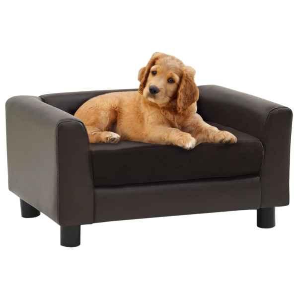 vidaXL Canapea pentru câini, maro, 60x43x30 cm, pluș & piele ecologică