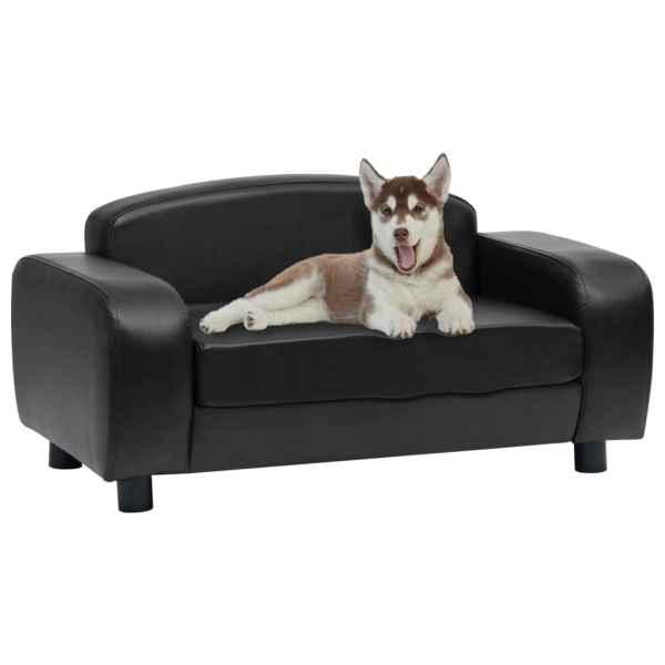 vidaXL Canapea pentru câini, negru, 80 x 50 x 40 cm, piele ecologică