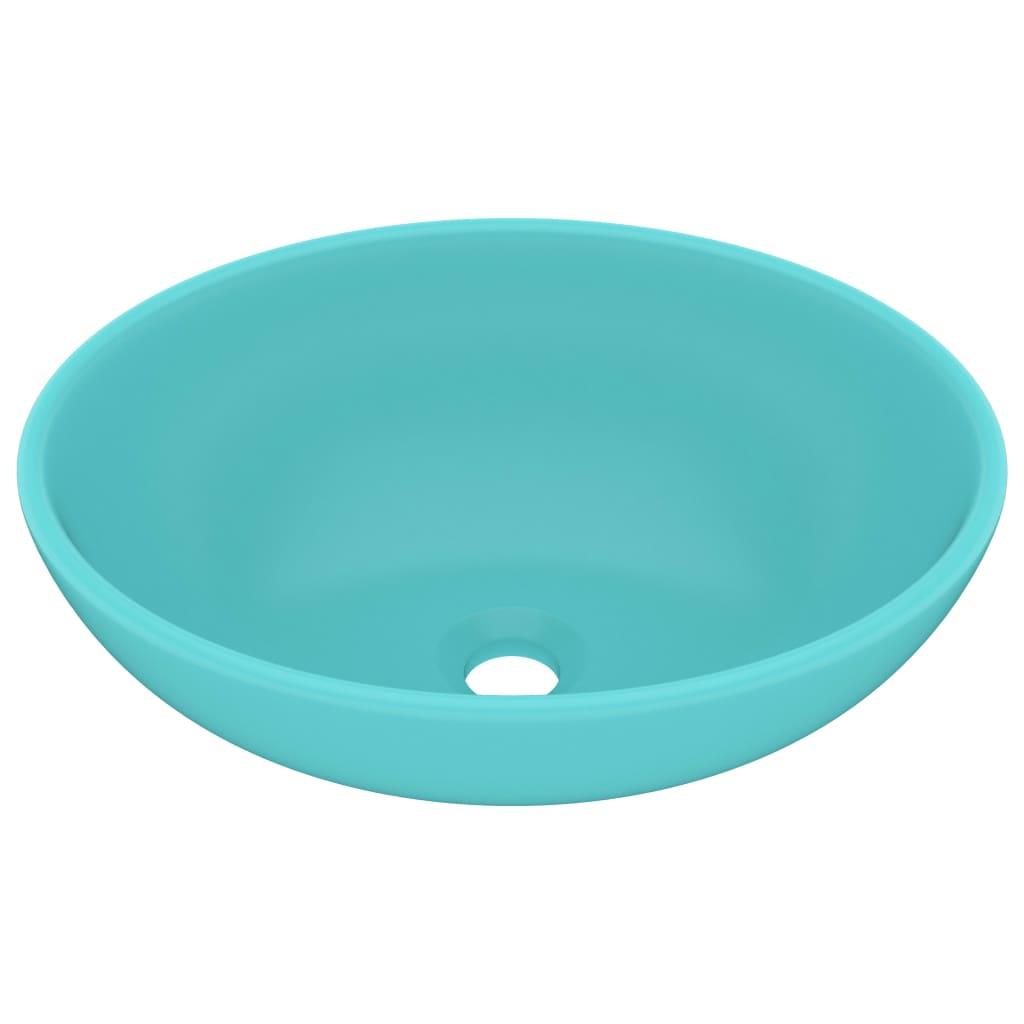 Chiuvetă de lux, verde deschis, 40x33cm, ceramică, formă ovală