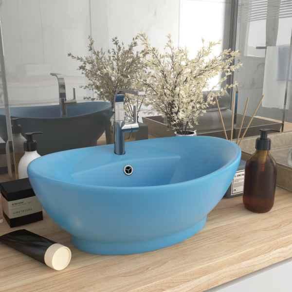 vidaXL Chiuvetă lux cu preaplin, bleu mat, 58,5×39 cm, ceramică, oval