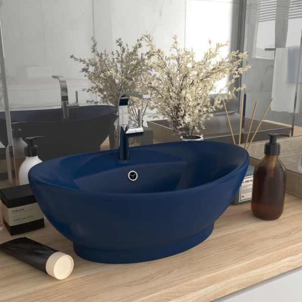 vidaXL Chiuvetă lux preaplin albastru mat 58,5×39 cm ceramică oval