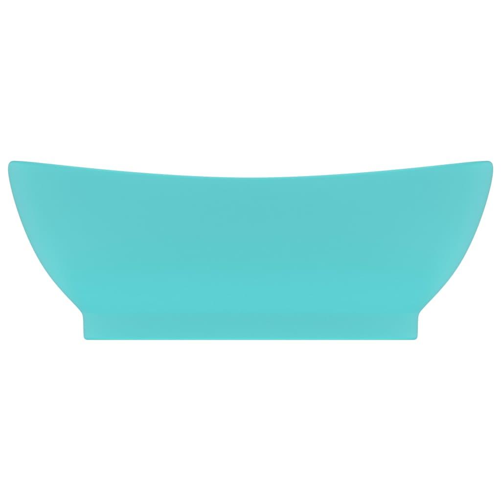 vidaXL Chiuvetă lux preaplin verde deschis mat 58,5x39cm ceramică oval