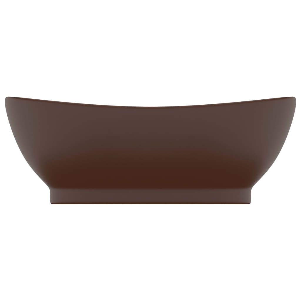 Chiuvetă lux, preaplin maro închis mat 58,5×39 cm ceramică oval