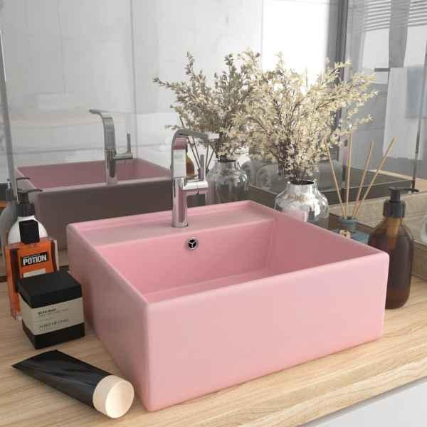 vidaXL Chiuvetă lux cu preaplin, roz mat, 41×41 cm, ceramică, pătrat