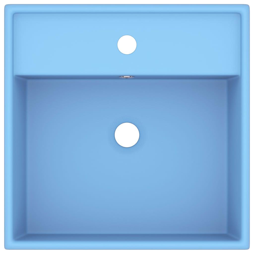 Chiuvetă lux preaplin, bleu mat, 41×41 cm, ceramică, pătrat