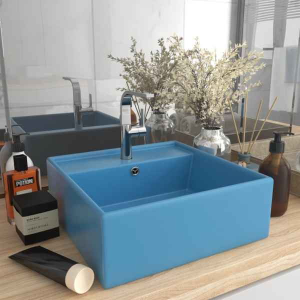 vidaXL Chiuvetă lux preaplin, bleu mat, 41×41 cm, ceramică, pătrat